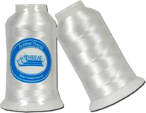 Embroidery Bobbin Thread - 5000m Spool - 60wt White - By Threadart