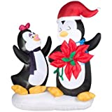 Gemmy Industries Animated Penguin Couple with Poinsettia Christmas Inflatable