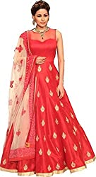 SK Fashion Women's Red-White Banglori Anarkali Unstitched Salwar Suit Dress Material (Dress_194_FreeSize_Red-White)