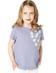 Autograph Pure Cotton Floral Appliqué T-Shirt