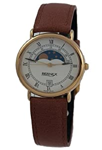 GB11123 - Bernex Mid Size Gold Plated Wrist Watch, Moonphase, Quartz, White Roman Dial, With Date