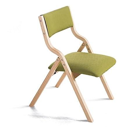 Inicio Sillas de madera maciza plegable Sillas de comedor de tela Sillón de escritorio y silla Silla de silla de ordenador ( Color : GreenA )