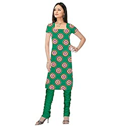 Shopeezo Green Colored Poly Cotton Printed Dress Material