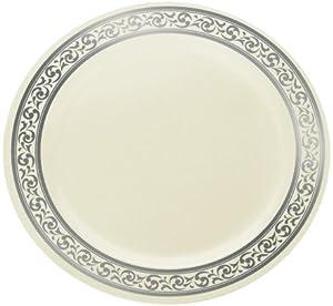 Decor Cream With Silver Rim Heavyweight Plastic Dinne