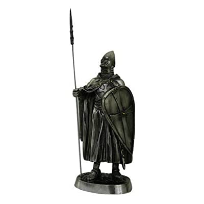 7 Inch Medieval Knight Collectible Statue Figurine Battle Crusader Shield Spear