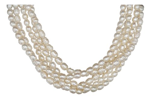 Sterling Silver 19 to 22 inch Adjustable Five Strand Fresh Water Pearl Necklace.