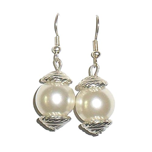 Beadworks Beadworks Beaded Earrings - Beaded Pearl Earrings (White)