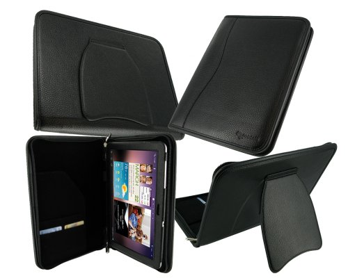 rooCASE Executive Portfolio (Black) Leather Case Cover with Landscape / Portrait View for Samsung GALAXY Tab 10.1 Wi-Fi (NOT Compatible with Verizon 4G LTE)