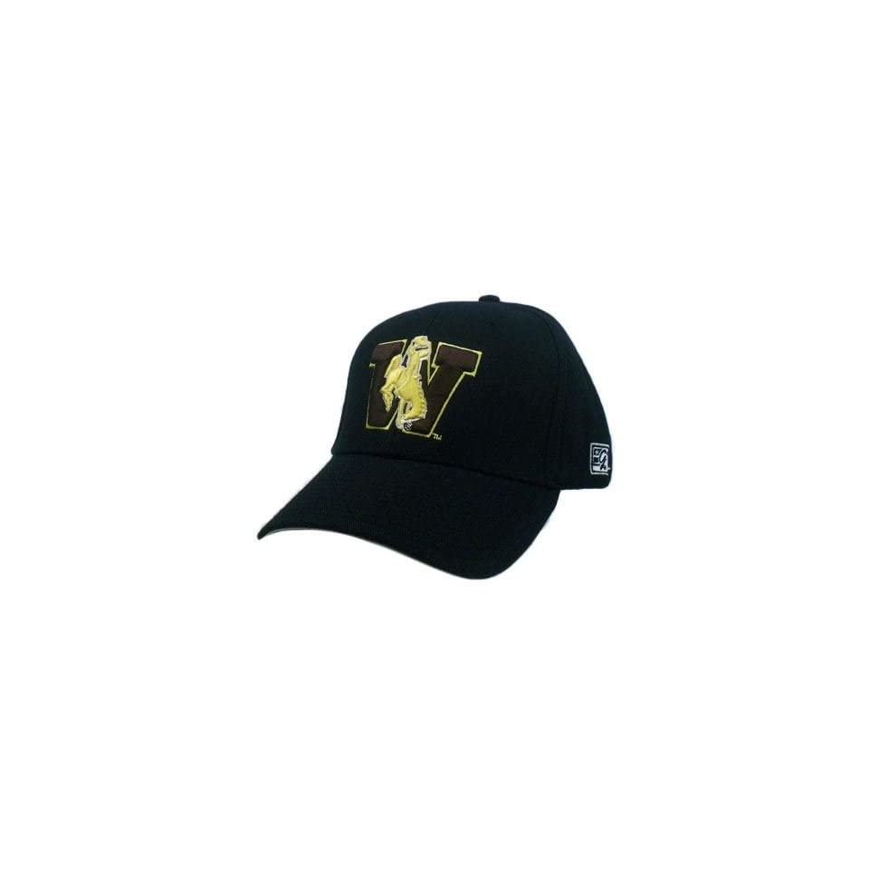 HAT CAP WYOMING UW COWBOYS COWGIRLS BLACK BROWN GOLD FITTED 7 1/2