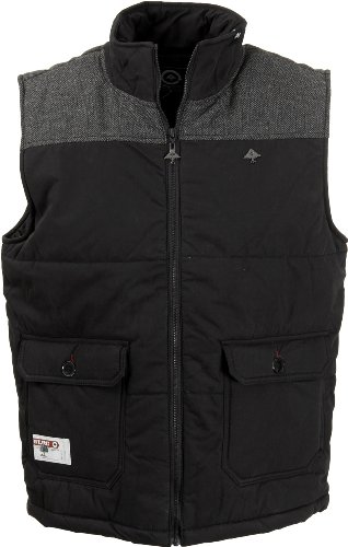 LRG Rockwood Puffy Padded Gilet Vest in Black, XX-Large