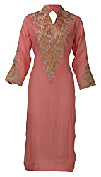 Sumona and Me Women's Georgette Kurta (Pink, Gold and Silver, 46)