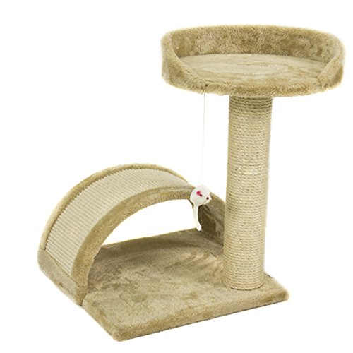 cat-tree-post-scratcher-furniture-play-house-pet-bed-kitten-toy-beige-new