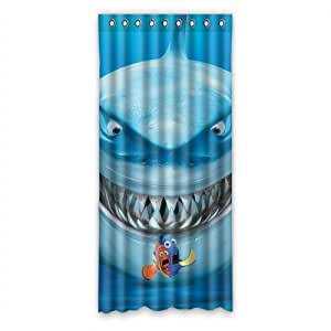 Great white shark with little finding nemo waterproof window curtain