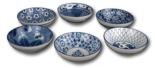 Set of 6 Ceramic Porcelain Bowls, Rice Bowls, Cereal Bowl, Dessert Bowl, Serving Bowls, Soup Bowls, Fruit Bowls, Bowl Set, Japanese, with Free 6 Blue and White Porcelain Spoons (White Porcelain Spoon compare prices)