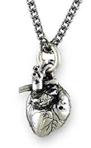 "Anatomical 3d Human Heart Antique Silver Necklace Gothic 32"" Chain"