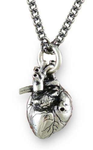 Anatomical 3d Human Heart Antique Silver Necklace