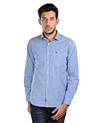 Oxemberg Men's Checkered Sports 100% Cotton Blue Shirt