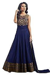 omsai fashion Women's blue Net Semi Stiched Dress (OSRDCG11-Blue-COPPER)