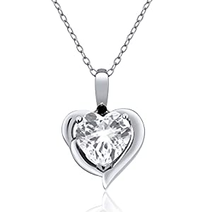 2.02 Ct Heart Shape White Topaz & Black Diamond 925 Sterling Silver Pendant 18