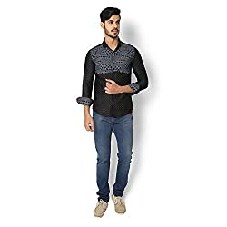 STRAK Mens' Pure Cotton Black Abstract Dotted Designer Apple Cut Style Shirt With Full Sleeve Size:-XL/44