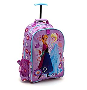 Disney Store Frozen Elsa Anna Rolling Luggage Backpack by Disney