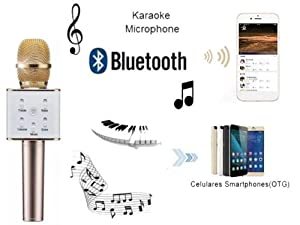 Wireless Q7 Karaoke Microphone, Portable Handheld Bluetooth Condenser Microphone and Speaker for for iPhone/iPad/iPod/ Samsung Sony HTC Lumia Smartphones by Lominus