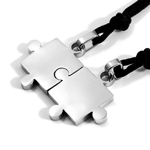 MENDINO da uomo donna 2coppie amanti anniversario giorno in acciaio inox argento ciondolo Puzzle