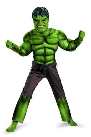 Avengers Hulk Classic Muscle Costume, Green/Brown, Small (4-6)