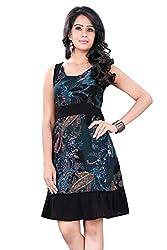 Trendif Women's Dress (1030_Green Black_Small)