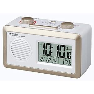 【クリックで詳細表示】ADESSO(アデッソ) AM/FMラジオ付き電波デジタル置き時計 温度計付き ホワイト×ゴールド RD-J329W
