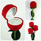 プロポーズに!! 真紅のバラ 指輪ケース おもしろ雑貨 プレゼント に ステキ オシャレ 結婚指輪 ブランド アクセサリーケース ジュエリー 宝石 人気 高品質 (3本セット)