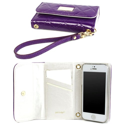 Special Sale JAVOedge Vintage Quilted Clutch Wallet Case with Wristlet for the Apple iPhone 5s, iPhone 5 (Purple)