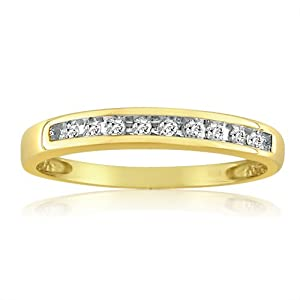 10K Yellow Gold Channel Set Diamond Anniversary Ring (1/10ct. Ring Sizes 5-7 1/2)