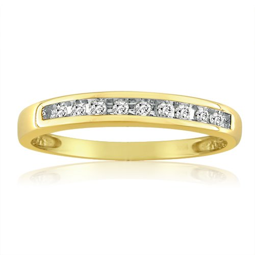 10K Yellow Gold Channel Set Diamond Anniversary Band (1/10ct. Available in Ring Sizes 5-7 1/2))