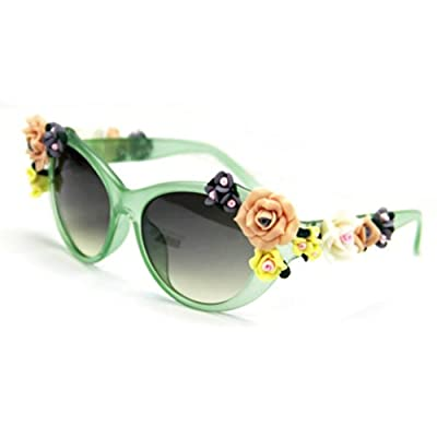 WXBUY Oversized Women's Girls Sunglasses Retro Decor Floral Flower UV Glasses