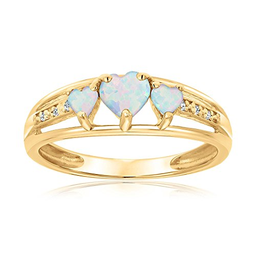Created Opal Heart Gold Plated Diamond Accent Birthstone Ring - Size 8 (Heart Gold Ring compare prices)