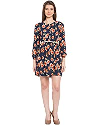 TARAMA Navy color Floral Print Midi Dress for womens