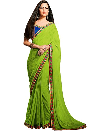 Cbazaar Green Jacquard Saree with Blouse Piece (multicolor)