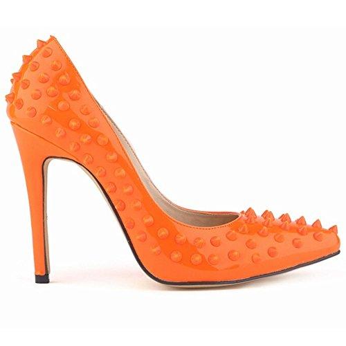 Pumud Ladies Women'S High Heel Closed Toe Pumps Rivet Studded Sandals Handmade For Wedding Party Dress Stiletto Shoes (Us 9, Orange)