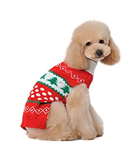 Dog Sweater Christmas for Cat Cute Red Small Puppies Teacup Chihuahua Pet Winter Coat Cold Weather Clothes PUPTECK
