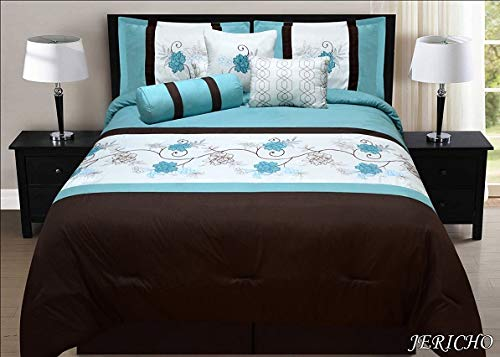 Unique Home 7 Pieces Bedding Comforter Set Regal Medallion on Gray with Stripes of red, Gray and White with Pillow Sham Cushion Bed Skirt King