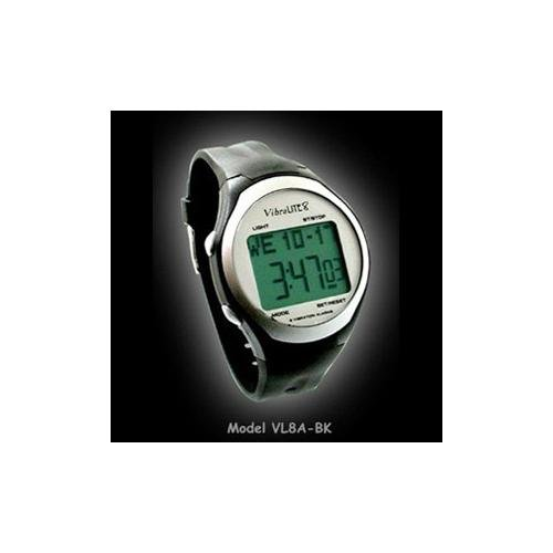 VIBRALITE 8 TIME MANAGEMENT WATCH. 8 DAILY ALARMS. VIBRATION AUDIBLE OR BOTH. Black PU Strap-Black