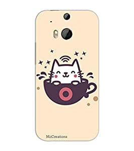 MiiCreations 3D Printed Back Cover for HTC One M8,Cup And Cat