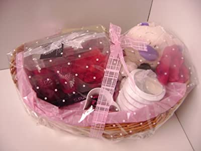 Valentines Day Ladies Gift Basket With Teddy Chocolates Candle Body Shop Spa Pack by Babysfirstnight