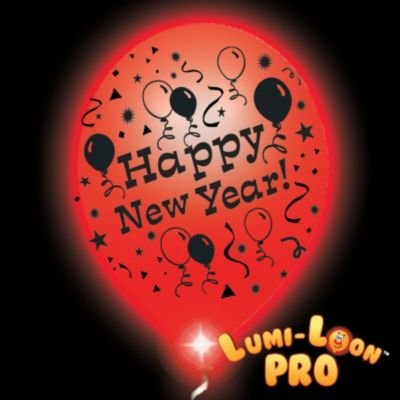 New Year Lumiloons Balloon Lights White Balloons Red Lights