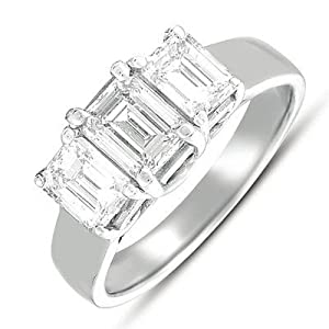 14k White Gold 2.25 Dwt Diamond Three Stone Ring - JewelryWeb