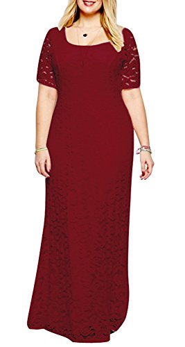 Eudolah Plus Size Scoop A-line Long Maxi Lace Gown Wine Size 22