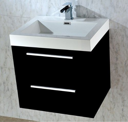 WALL HUNG BLACK GLOSS FINISH BATHROOM BASIN SINK CABINET VANITY UNIT - 580 mm