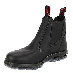 Redback Men\'s Bobcat UBBK Elastic Sided Soft Toe Black Leather Work Boot, 2 AU 3E (3 M US Men)