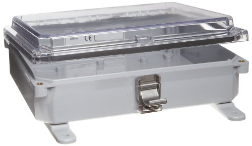"""Integra H10082Hcll Premium Line Enclosure, Hinged, Locking Latch Cover, Clear Cover, Mounting Feet, 10"""" Height, 8"""" Width, 2"""" Depth"""
